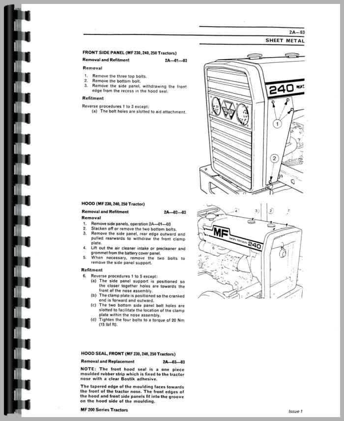 massey ferguson 240 tractor service manual rh agkits com Massey Ferguson 240 Tractor Clip Art Massey Ferguson 240 Tractor Data