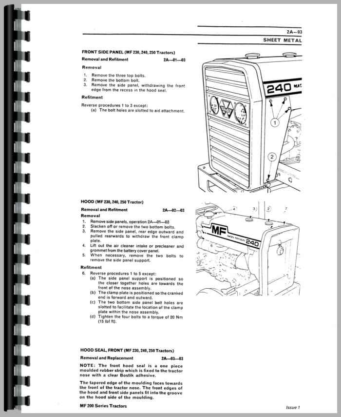 massey ferguson 250 tractor service manual rh agkits com massey ferguson manual pdf massey ferguson manuals for 135