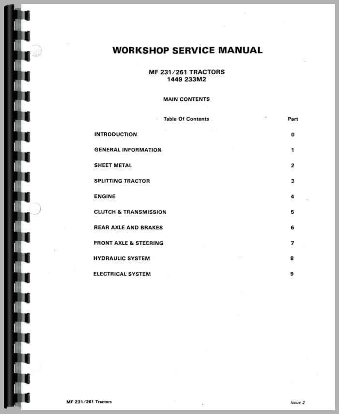massey ferguson 261 service manual