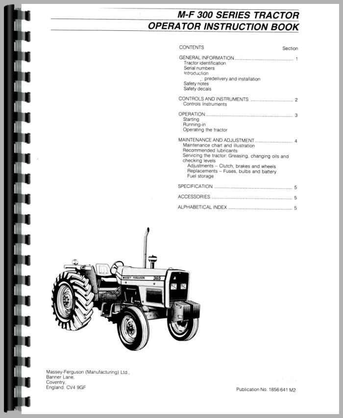 Massey Ferguson 355 Tractor Operators Manual