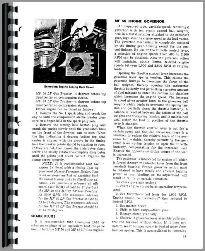 massey ferguson 65 tractor operators manual