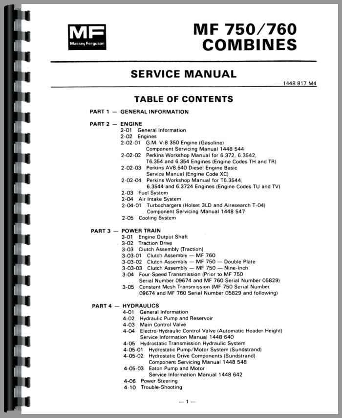 Massey Ferguson 760 Combine Service Manual