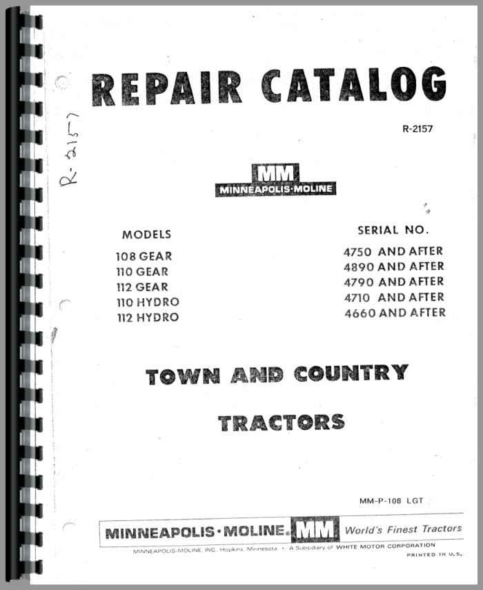 Minneapolis Moline Lawn Tractor Parts : Minneapolis moline lawn garden tractor parts manual