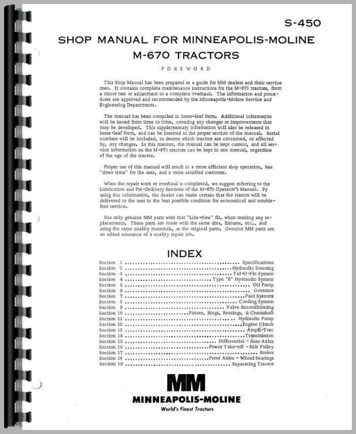 Details about  /Minneapolis Moline M670 Super M670 Tractor Parts Manual Catalog