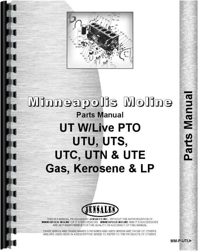 Minneapolis Moline Engine Parts : Minneapolis moline utu tractor parts manual