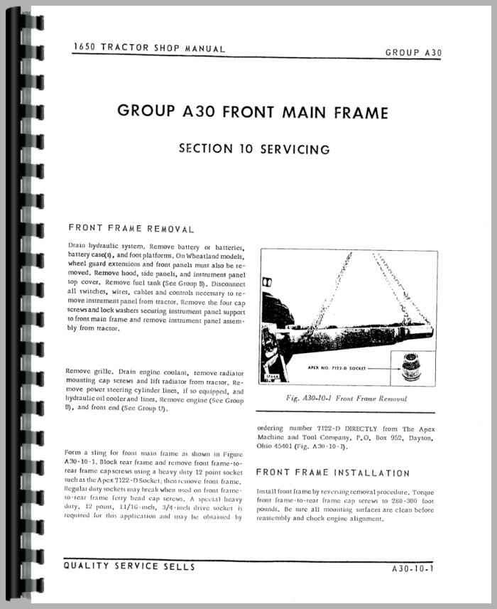 Oliver 1655 Tractor Service Manual
