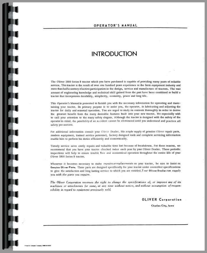 oliver 1800b tractor operators manual