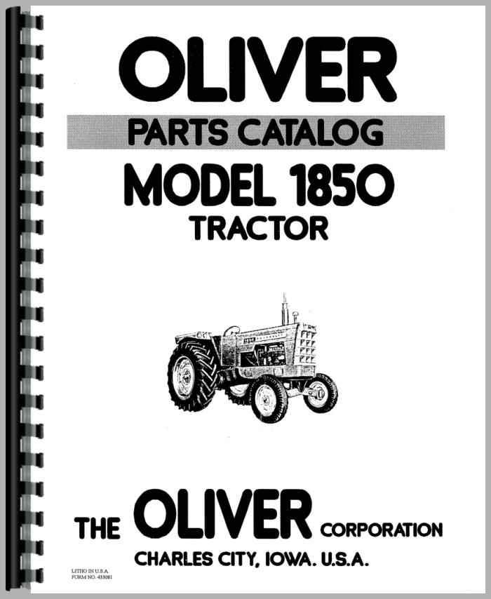 Oliver 1850 Tractor Parts Manual on