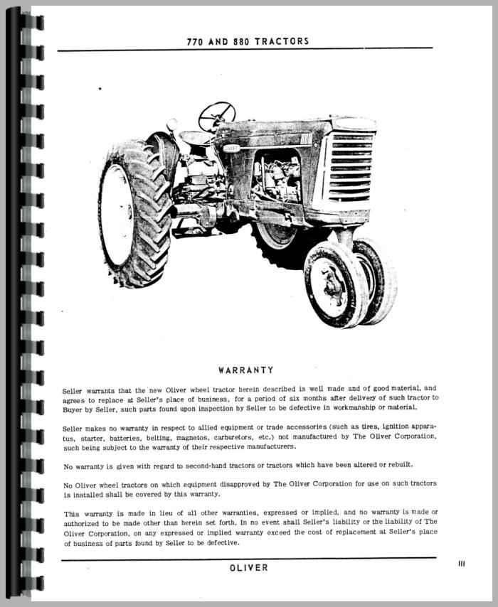 Oliver 770 Tractor Operators Manual