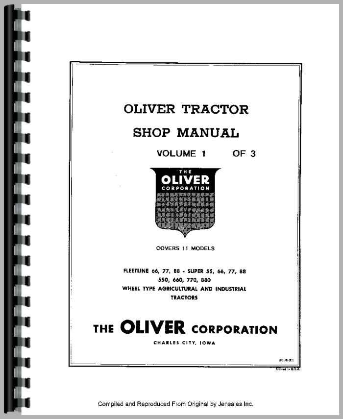 oliver 880 tractor service manual