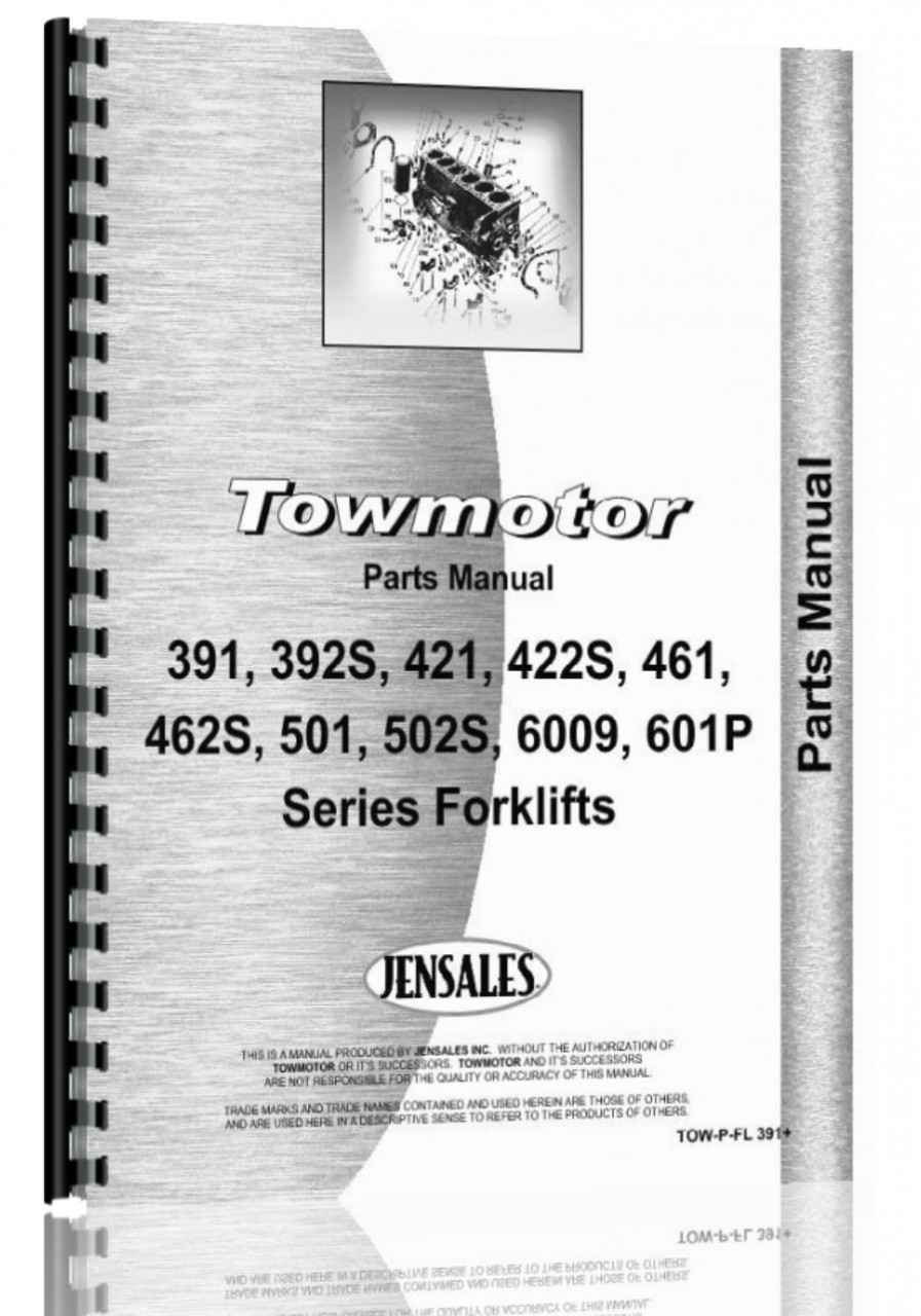 Towmotor 391, 392S, 421, 22S, 461, 462S, 501, 502P, 502S, 600P, 601P  Forklift Parts Manual (HTTO-WPFL391)
