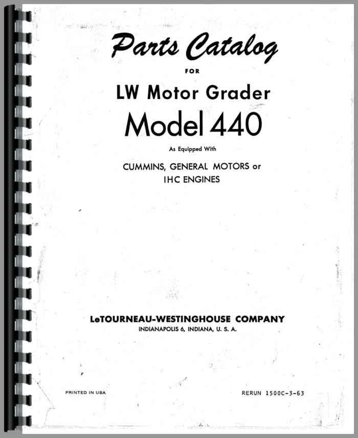 Wabco 440 Grader Parts Manual