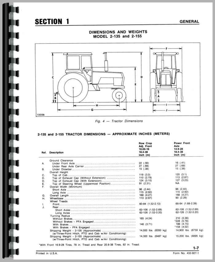 white 2 135 tractor service manual rh agkits com 2-135 White Mirrors White 2 135 Cummins