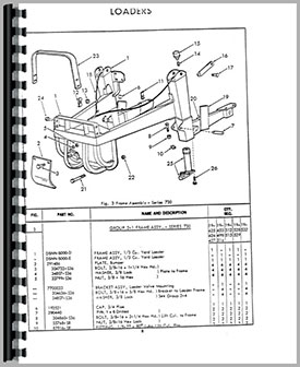 Ford 3550 Industrial Loader Attachment Parts Manual border=