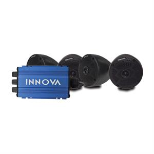 INNOVA Set of 4 Cone Speakers and 4-Channel Mini-Amp with Bluetooth, Universal Fit