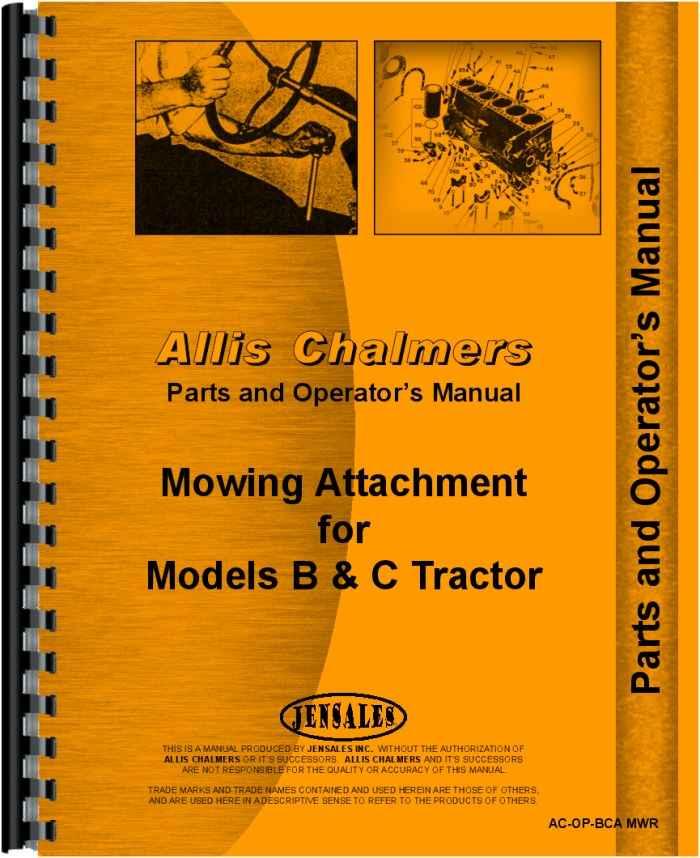 Allis Chalmers BCA Sickle Bar Mower Operators & Parts Manual