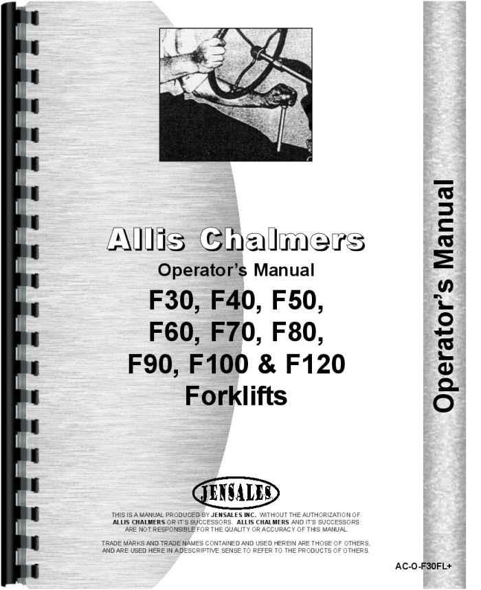 Allis Chalmers FD 50 Forklift Operators Manual