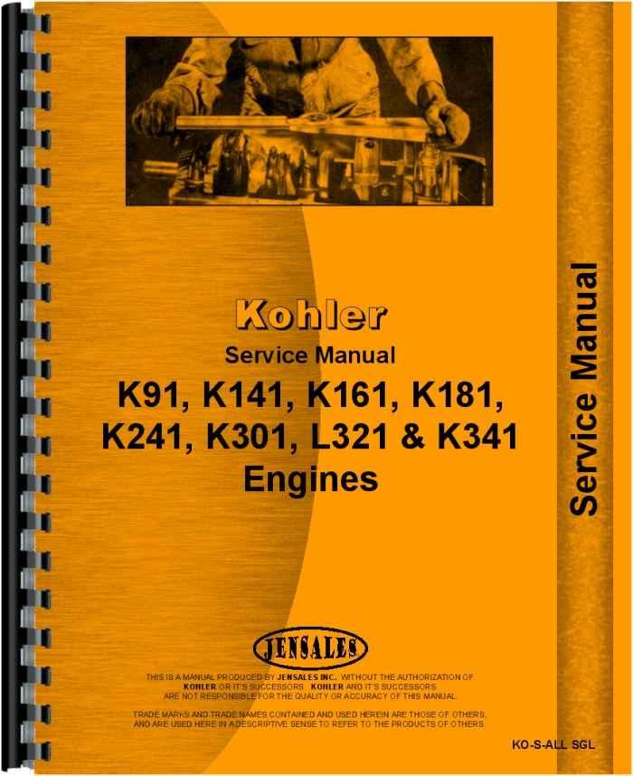 Bolens 230-01 Lawn & Garden Tractor Kohler Engine Service Manual  (HTKO-SALLSGL)