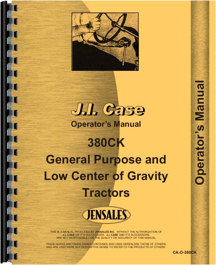Case 380 CK Construction King Tractor Only Service Manual