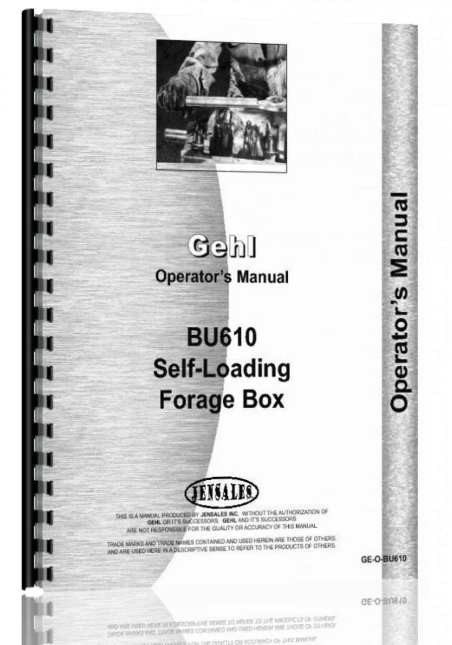 Gehl BU610 Forage Box Operators Manual (HTGE-OBU610)
