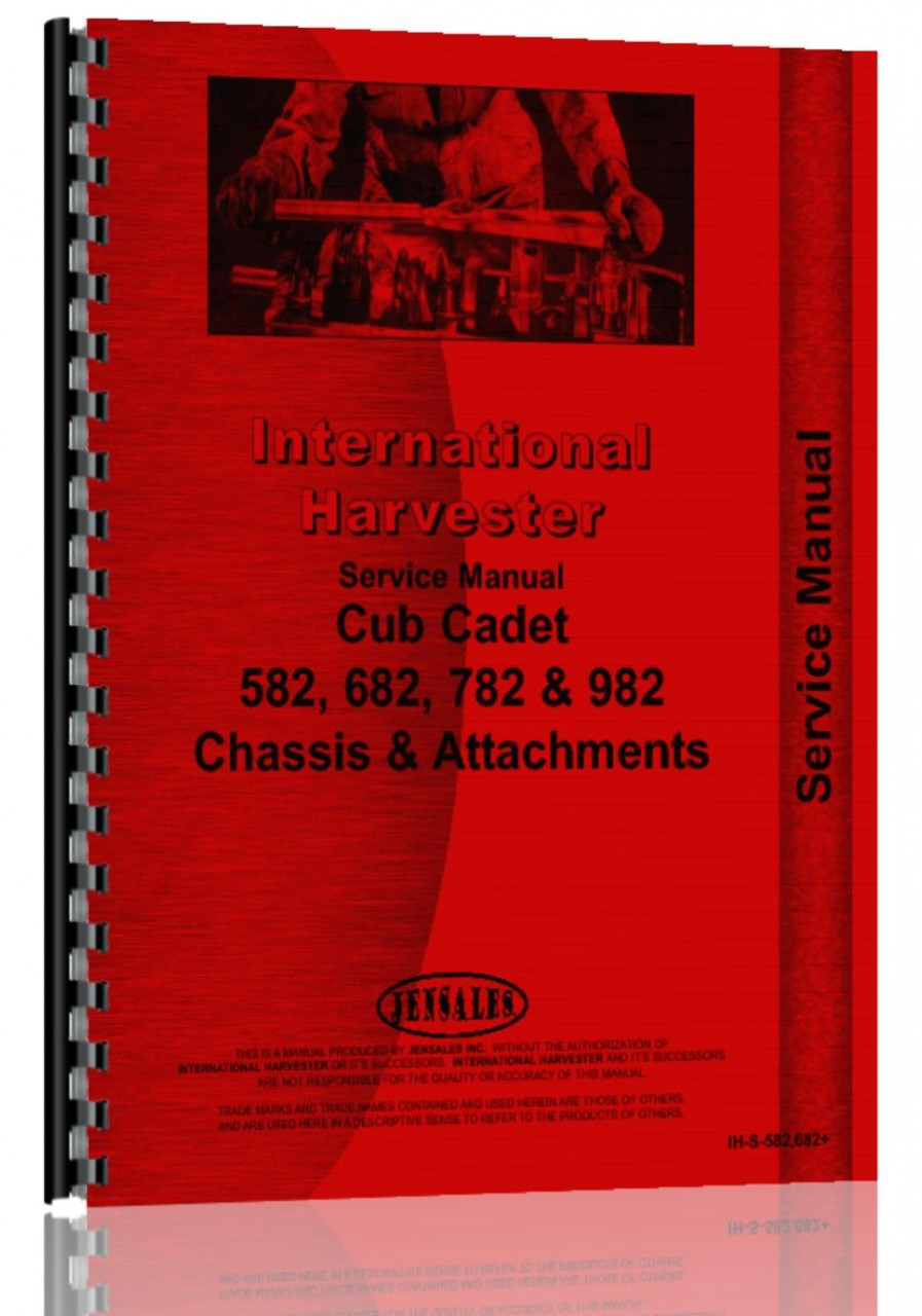 International Harvester Cub Cadet 782D Lawn & Garden Tractor Service Manual  (HTIH-S582682)