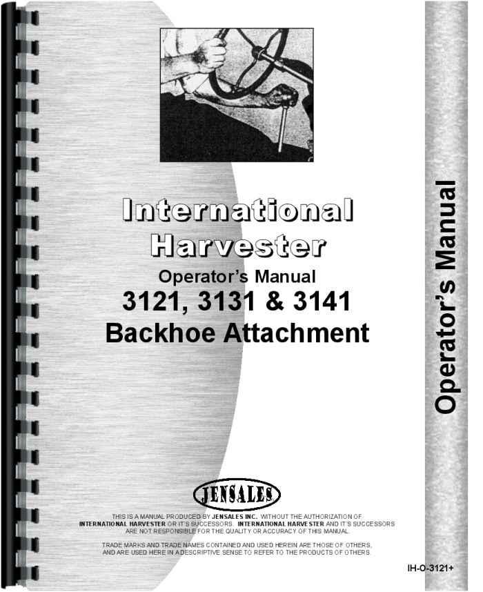 International Harvester 3050A Backhoe Attachment Service Manual ...