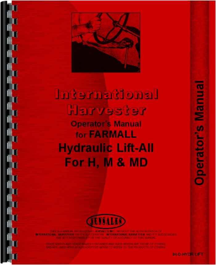 Farmall H Tractor Hydraulic Lift-All Operators Manual (HTIH-OHYDRLIFT)