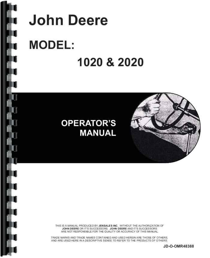John Deere 1020 2020 Tractor Owners Operators Manual
