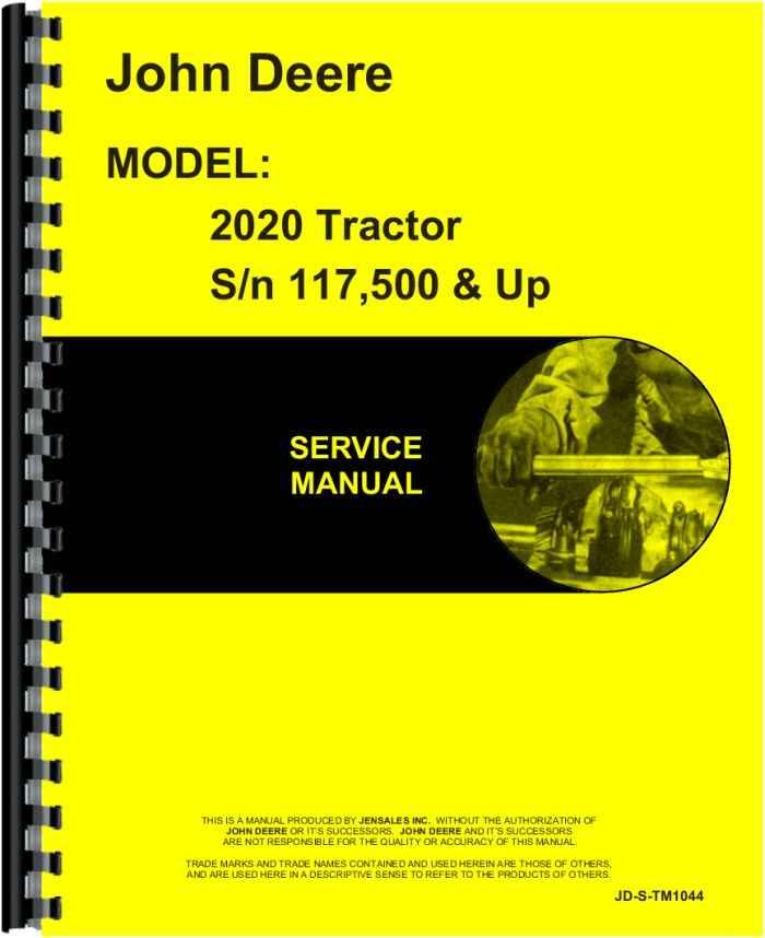 john deere 2020 tractor service manual (htjd-stm1044)