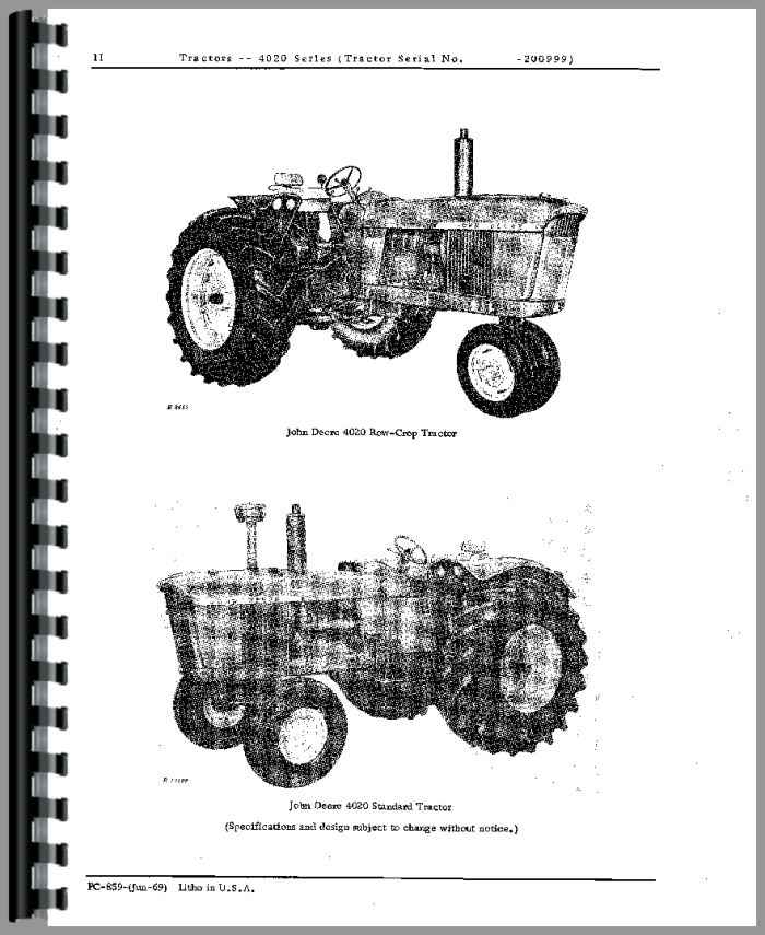 John Deere 4020 Tractor Parts Manual (HTJD-PPC859)