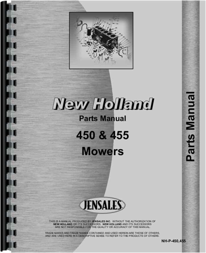 New Holland 455 Sickle Bar Mower Parts Manual (HTNH-P450455)