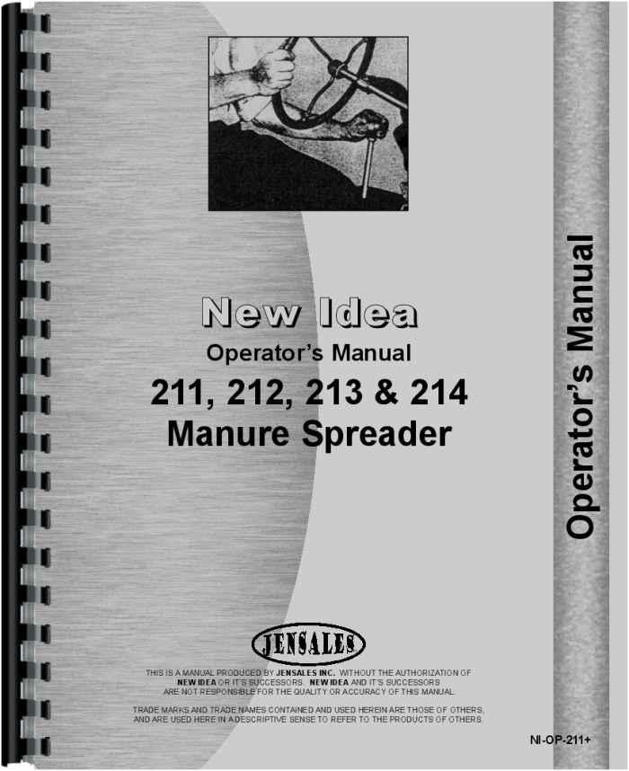 New Idea 212 Manure Spreader Operators & Parts Manual