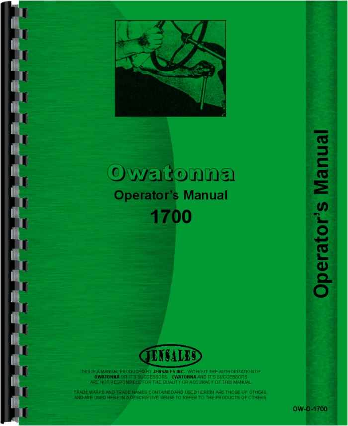 Owatonna 1700 Skid Steer Loader Operators Manual (HTOW-O1700)