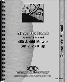 New Holland 450 Sickle Bar Mower Operators Manual